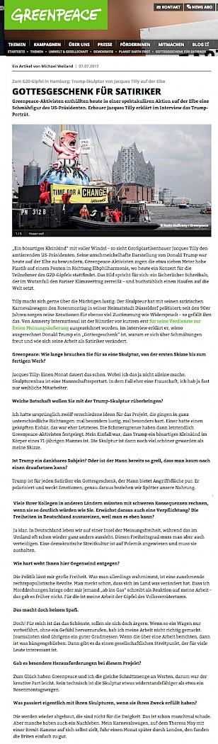 Greenpeace.de, Tilly Interview, 7.7.2017 Artikel im Wortlaut auf greenpeace.de [https://www.greenpeace.de/themen/umwelt-gesellschaft-demokratie/planet-earth-first/gottesgeschenk-fuer-satiriker]